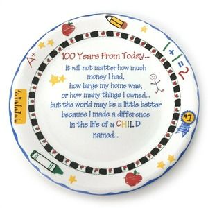 Ganz Teacher Gift Plate 100 Years From Today
